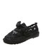 Women Lace Mesh Non Slip Soft Comfy Lace Up Fisherman Shoes Casual Hand Stitching Flat Shoes - Black