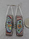 Vintage Colored Graffiti Women Pendant Earrings Jewelry Gift - Silver