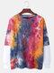 Mens Cotton Tie-Dye Faux Twinset Round Neck Long Sleeve Sweatshirt - Red
