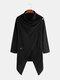 بلوزة رجالي سادة 100٪ قطن غير منتظمة شال ياقة طويلة بالأزرار - أسود