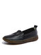 Women Comfy Soft Pu Leather Breathable White Flat Shoes - Black 2