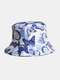 Unisex Cotton Overlay Fishbone Butterfly Pattern Printed Double-sided Wearable Fashion Sun Protection Bucket Hat - #02