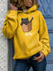 Kitty Cat Print Long Sleeve Casual Plus Size Hoodie - Yellow