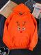 Christmas Printed Long Sleeve Casual Hoodie For Women - Orange