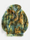 Mens Tie-Dye Fluffy Fleece Pouch Pocket Teddy Hoodie - Green