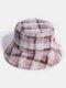 Women & Men Rabbit Fur Plaid Pattern Plus Thicken Warm Windproof Soft All-match Travel Bucket Hat - Pink