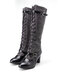 Plus Size Women Splicing Buckle Cross Strap Chunky Heel Mid Calf Riding Boots - Gray