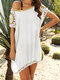 Embroidery Crochet Hollow Out Plus Size Beaches Holiday Blouse - White