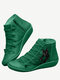 Plus Size Women Casual Cat Printing Side Zipper Flat Ankle Boots - Green