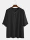 Mens 100% Cotton Light Breathable Solid Color Mid-sleeved T-shirt - Black