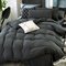 3/4 Pcs Non-printing Skin-washing Cotton Four-piece Quilt Cover Bedding Sets Single Double Bed Three-piece - Dark Grey
