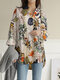 Vintage Flower Print Long Sleeves Casual Loose Blouse With Pockets - Yellow