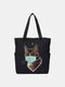 Women Cat Pattern Mask Casual Canvas Shoulder Bag - Black