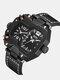 Vintage Large Dial Men Watch Dual Time Zone Waterproof Quartz Watch - Black