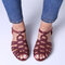 LOSTISY Women Casual Lightweight Hollow Buckle Strap Flat Sandals - Wine Red