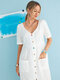 Multi-color Buttons V-neck Short Sleeve Casual Dresses With Pockets - White