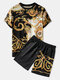 Mens Ethnic Baroque Pattern Short Sleeve Black Two Piece Outfits - Black