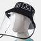 Detachable Face Screen Children's Sun Hat Windshield Fisherman Hat - Black