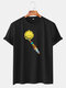 Mens Cotton Funny Colorful Planet Print O-Neck Casual Short Sleeve T-Shirts - Black