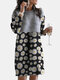 Calico Print Patchwork Long Sleeve Casual Dress For Women - Gray