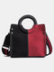 Vintage Quilted Clolor Block Sewing Thread Stitching Color Crocodile Embossed Comfy Handle Crossbody Bag - Black