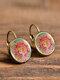 Vintage Glass Dangle Women Earrings Plant Flower Pattern Earrings Jewelry - #10