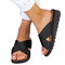 Large Size Women Comfy Open Toe Solid Color Non Slip Wedges Slippers - Black