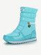 Women Warm Lining Waterproof Slip Resistant Zipper Snow Boots - Blue