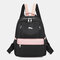 Women Oxford Waterproof Anti-theft Patchwork Casual Backpack - Black