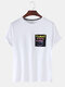 Mens Colorful Letter Printed Cotton Round Neck Casual Short Sleeve T-shirts - White