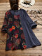 Floral Print Patched O-neck Long Sleeve Corduroy Blouse - Navy
