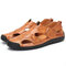 Large Size Men Classic Hand Stitching Outdoor Comfy Soft Leather Sandals
