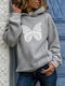 Butterfly Print Casual Pocket Plus Size Hoodie - Grey