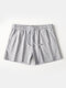 Pure Color Cotton Lounge Trunks Breathable Gym Running Sport Shorts With Pockets - Grey