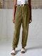 Vintage Corduroy Solid Color Back Elastic Waist Loose Pants For Women - Khaki