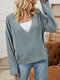 Solid Color Knitted Knotted Long Sleeve Casual Cardigan for Women - Fog blue