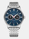 Large Dial Men Business Watch Steel Band Luminous Week Display Waterproof Quartz Watch - Blue
