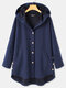 Solid Color Long Sleeve Hooded Jacquard Coat For Women - Blue