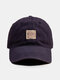Unisex Cotton Solid Letters Pattern Patch Fashion Sunshade Soft Top Baseball Cap - Navy