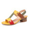 LOSTISY Color Block T Shape Opened Toe Elastic Band Chunky Heel Sandals - Yellow