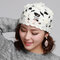 Women Wool Beanie Cap Knitted Lace Hand-knitted Hat Crochet Decoration Hat - White