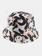 Women & Men Double-Sided Animals Panda Pattern Casual Cute Bucket Hat - Pink