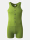 Mens One-Piece Suit Solid Color Fitness Slim Button Bodysuit Home Sleeveless Sport Jumpsuit - Green