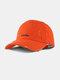 Casquette de baseball unisexe en coton de couleur unie trou cassé lettre broderie mode tout allumette - Orange