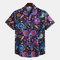 رجل مضحك المطبوعة الصيف قصيرة الأكمام كي طوق القميص فضفاض عارضة
