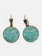 Vintage Geometric Round Alloy Glass Plum Blossom Pattern Print Earrings - Bronze