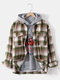 Mens Plaid Double Flap Pockets Button Daily Relaxed Fit Lapel Jacket - Green