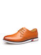Men Cow Leather Non Slip Lace-up Casual Business Shoes - Yellow
