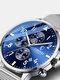 Business Full Steel Men Quartz Wristwatch Waterproof Date Clock Men Watch - Blue Dial Silver Mesh Band