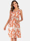 Maternity Floral Leaf Print Sleeveless Front Cross Casual Nursing Dress - Red